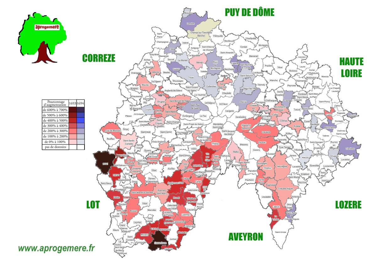 Cantal communes deces 1693
